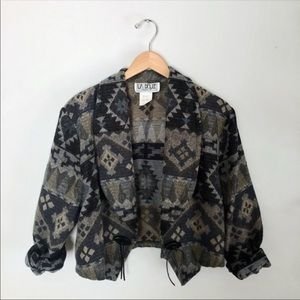 Retro western boho open cropped jacket